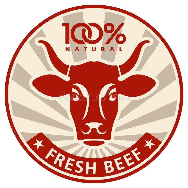 Etiket met het hoofd van een koe royalty-vrije illustratie