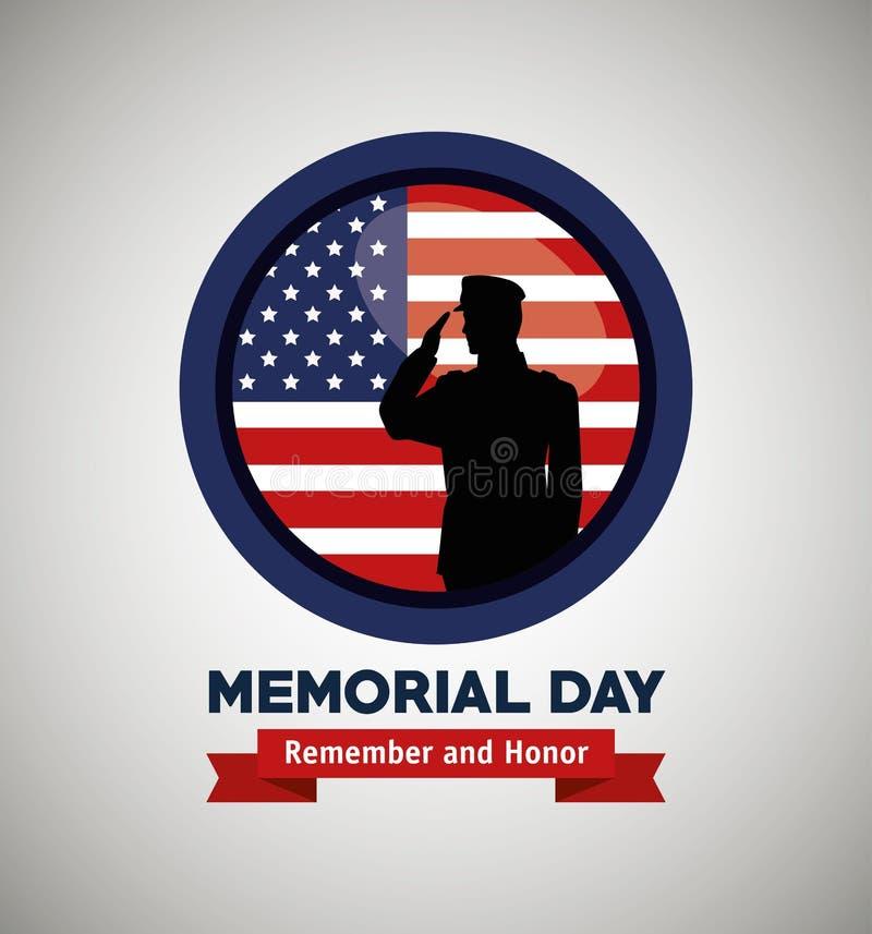 Etiket met militair en van de V.S. vlag aan herdenkingsdag vector illustratie