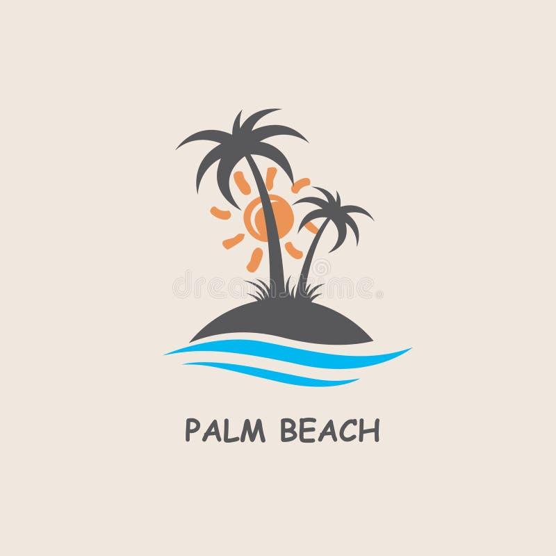 Etiket met palm royalty-vrije illustratie