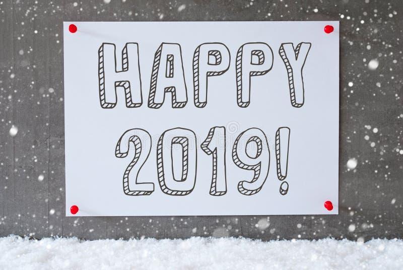Etiket op Cementmuur, Sneeuwvlokken, Tekst Gelukkige 2019 royalty-vrije stock afbeeldingen
