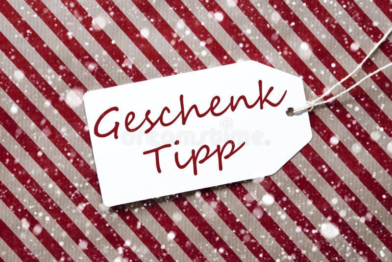 Etiket, Rood Verpakkend Document, het Uiteinde van de de Middelengift van Geschenk Tipp, Sneeuwvlokken royalty-vrije stock foto's