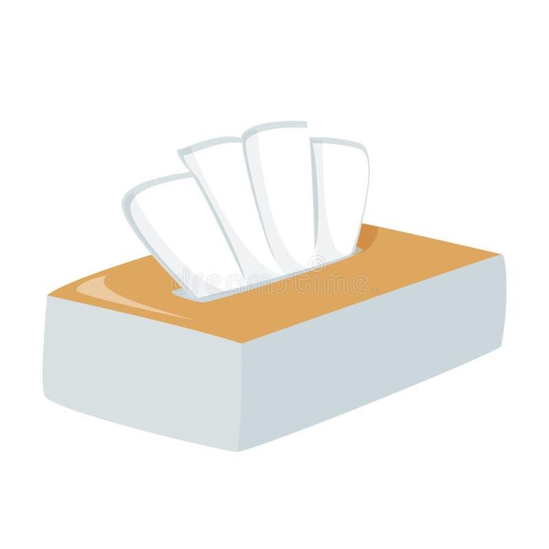 Etiket vak met weefselvak leeg Eenvoudige vectorillustratie Papierservetten vector illustratie