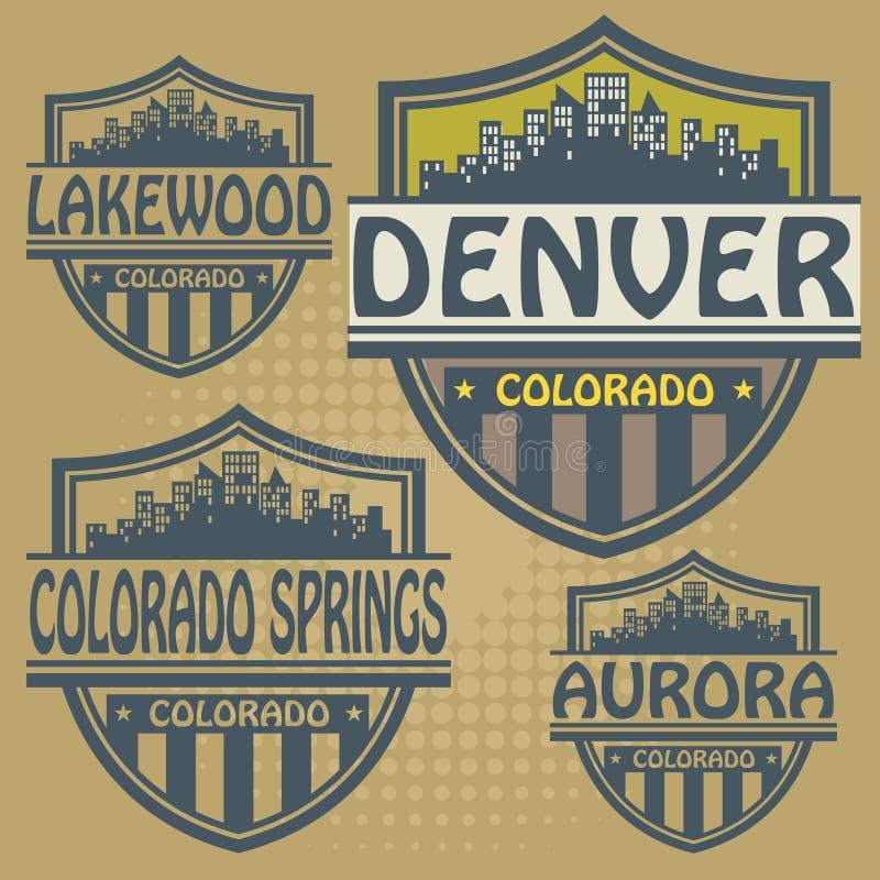 Etiket vastgesteld Colorado vector illustratie