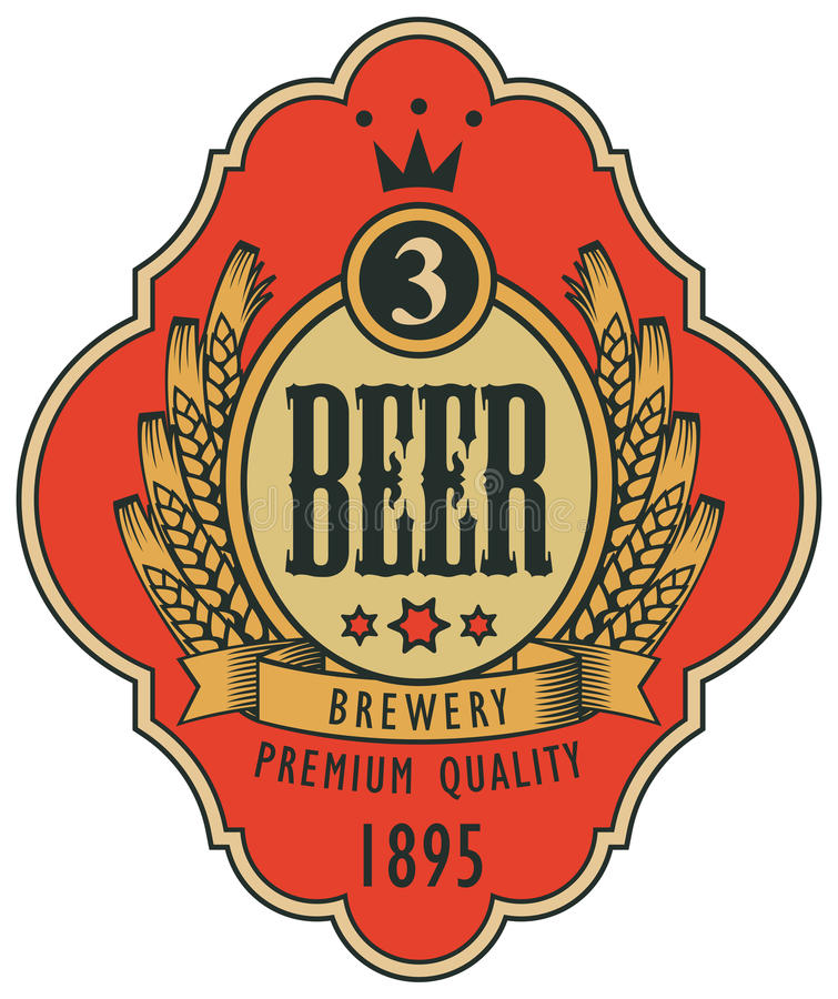 Etiket voor bier met wapenschild in krullend kader stock illustratie