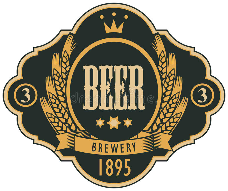 Etiket voor bier met wapenschild in krullend kader royalty-vrije illustratie