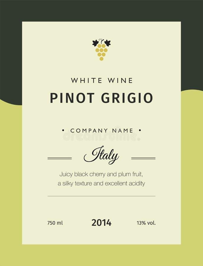 Etiket voor een fles van wijn, glazen en een bos van druiven De de beste verscheidenheden van de kwaliteitsdruif en merknamen van stock illustratie