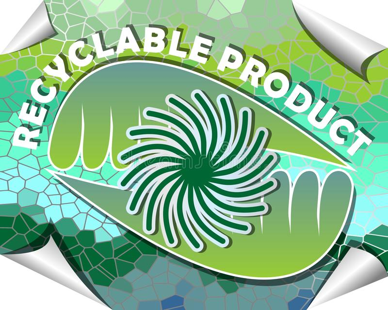 Etiket voor rekupereerbaar product in groen en blauw mozaïekontwerp stock illustratie