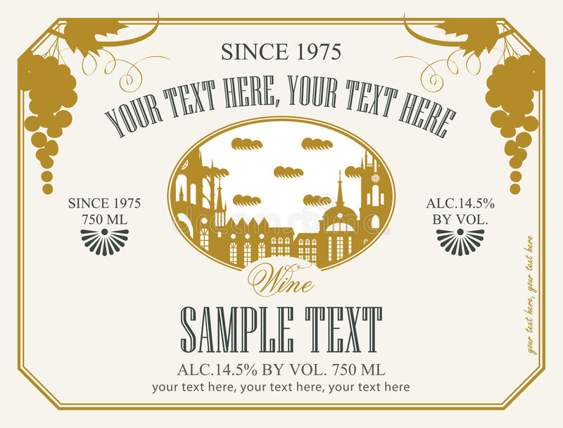 Etiket voor wijn stock illustratie