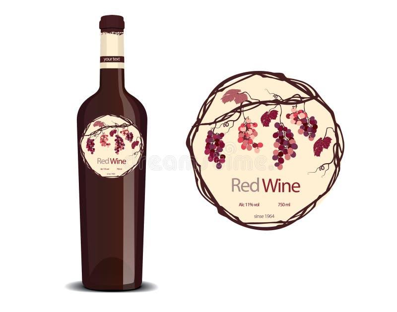 Etiket voor wijn en een steekproef op de fles wordt geplaatst die vector illustratie