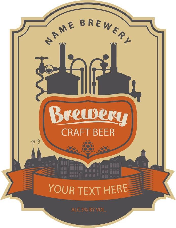 Etiketbier met brouwerij royalty-vrije illustratie