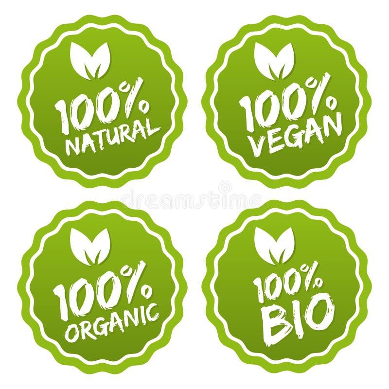 Etiketinzameling van 100% biologisch product en de natuurvoeding van de premiekwaliteit vector illustratie