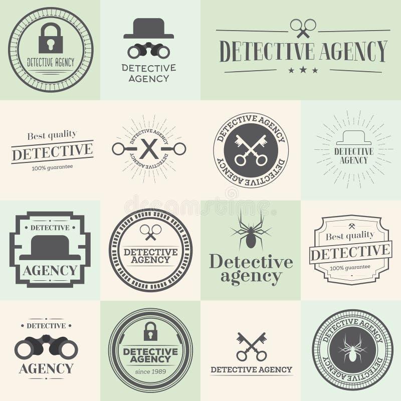 Etiketkentekens en zegels voor detectiveagentschap dat worden geplaatst royalty-vrije illustratie