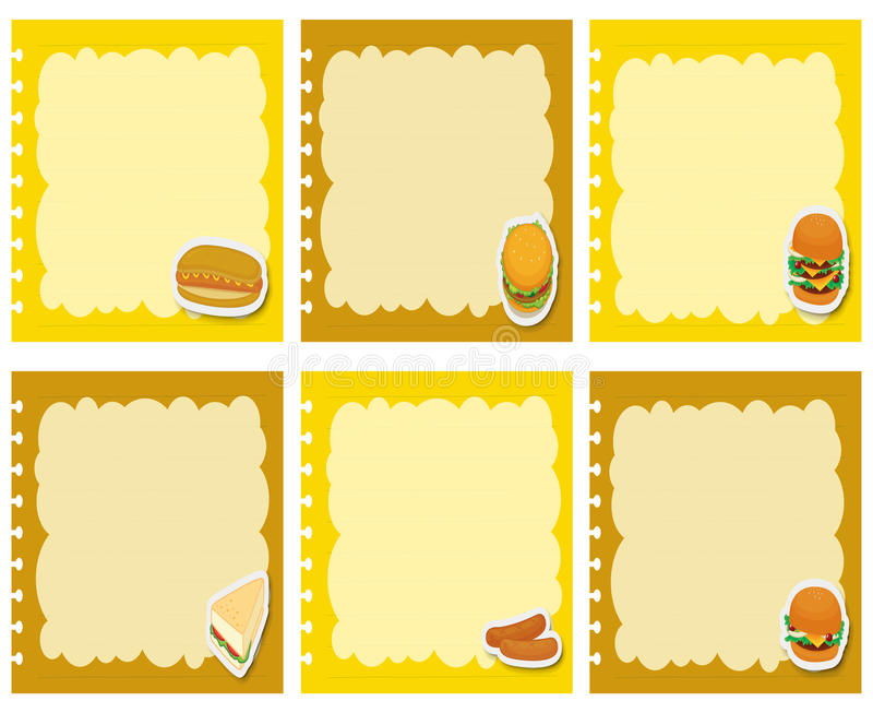 Etiketontwerp met fastfood stock illustratie