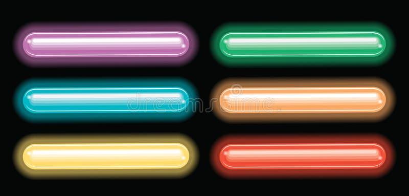 Etiketontwerp met verschillende kleur van neonlichten royalty-vrije illustratie