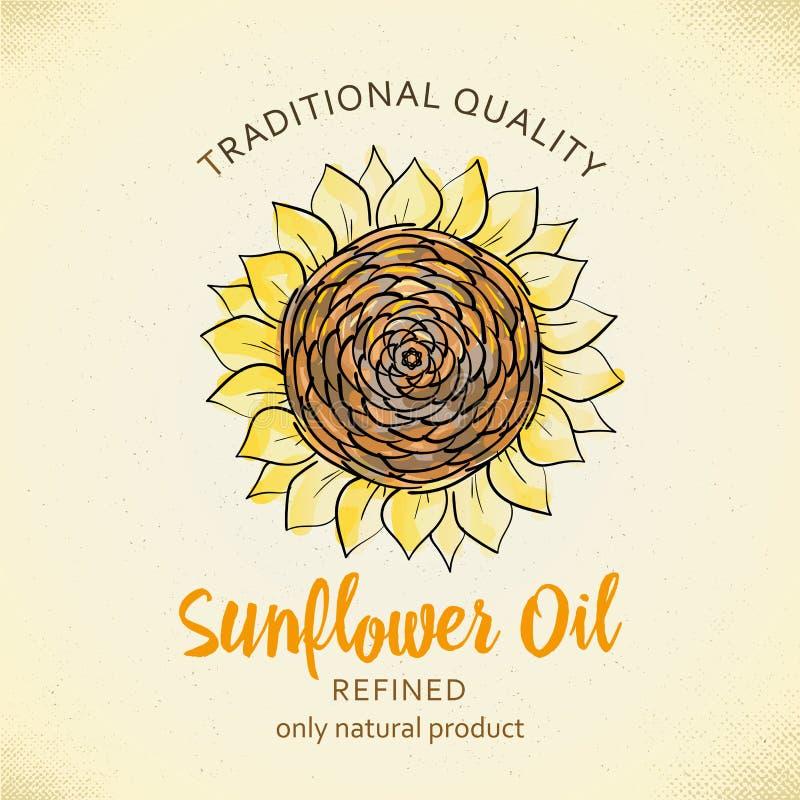 Etiketontwerpsjabloon voor geraffineerde zonnebloemolie Vectorillustratie met handdrawn zonnebloemen op document achtergrond voor vector illustratie