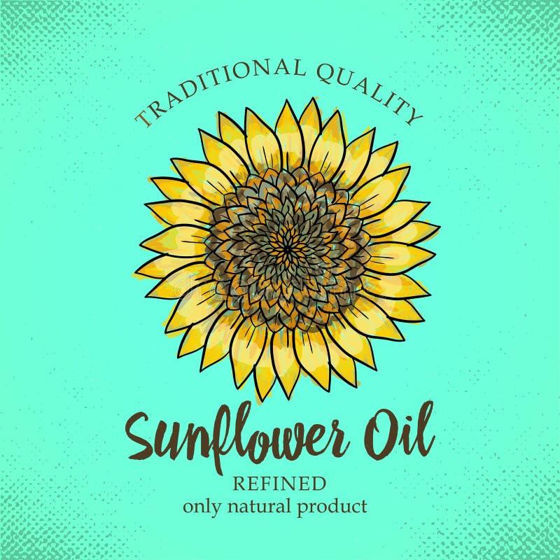 Etiketontwerpsjabloon voor geraffineerde zonnebloemolie Vectorillustratie met handdrawn zonnebloemen op turkooise achtergrond voo stock illustratie