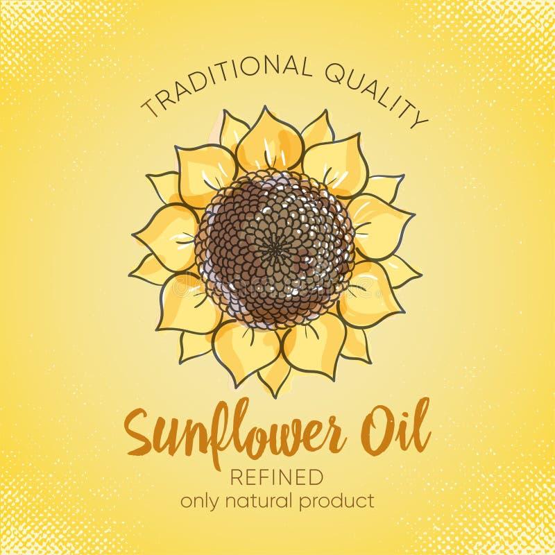 Etiketontwerpsjabloon voor geraffineerde zonnebloemolie Vectorschetsillustratie met handdrawn zonnebloemen op yelowachtergrond vo stock illustratie