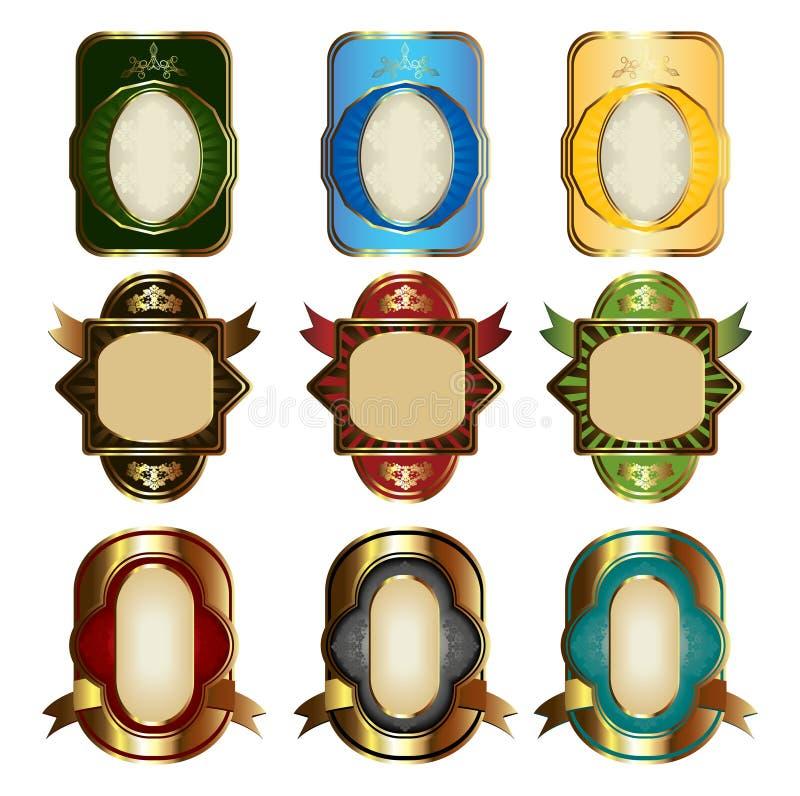 etikett royaltyfri illustrationer