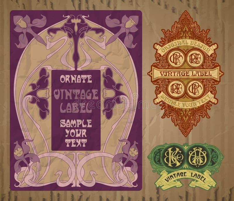 Etikett Art Nouveau vektor illustrationer
