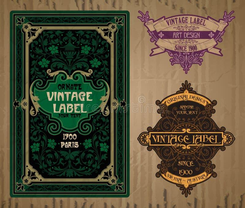 Etikett Art Nouveau royaltyfri illustrationer