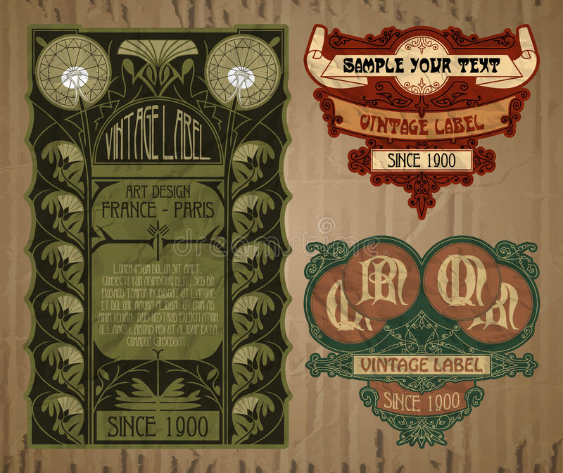 Etikett Art Nouveau stock illustrationer