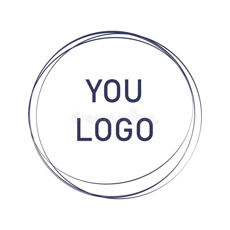 Etikett designbeståndsdel, ram Eleganta logocirklar Modelogodesign abstrakt cirkellinje formillustration tecknad hand stock illustrationer