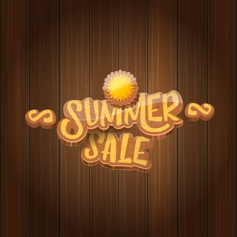 Etikett eller etikett för vektorsommarförsäljning på träbrädebakgrund med solen Sommarförsäljningsaffisch eller banerdesignmall stock illustrationer