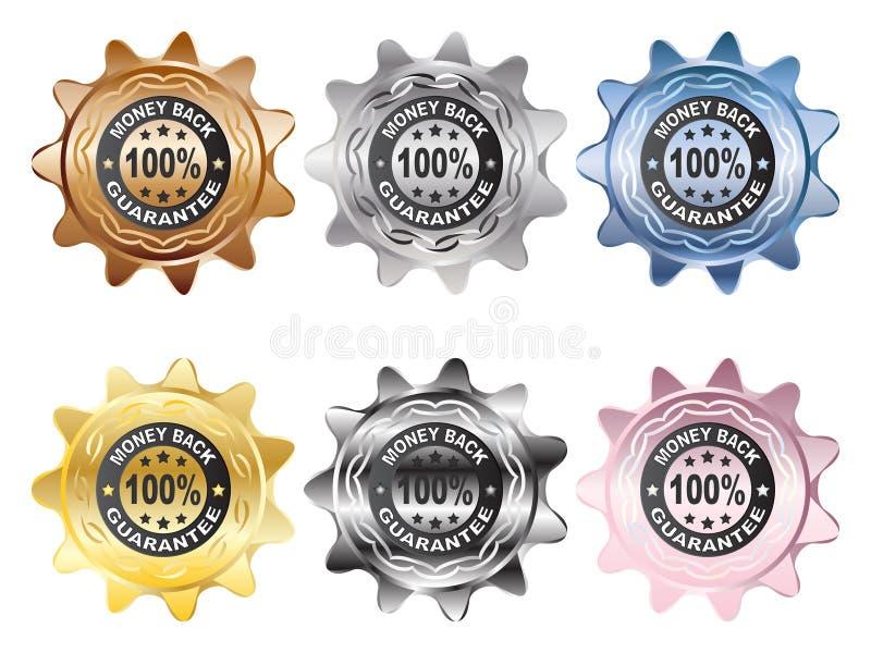 etikett för 100 guarantee vektor illustrationer