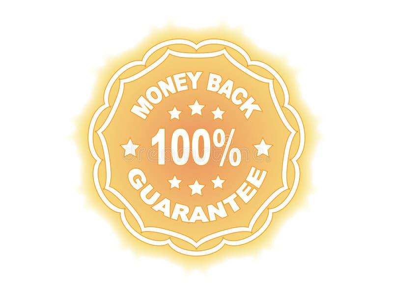etikett för 100 guarantee stock illustrationer