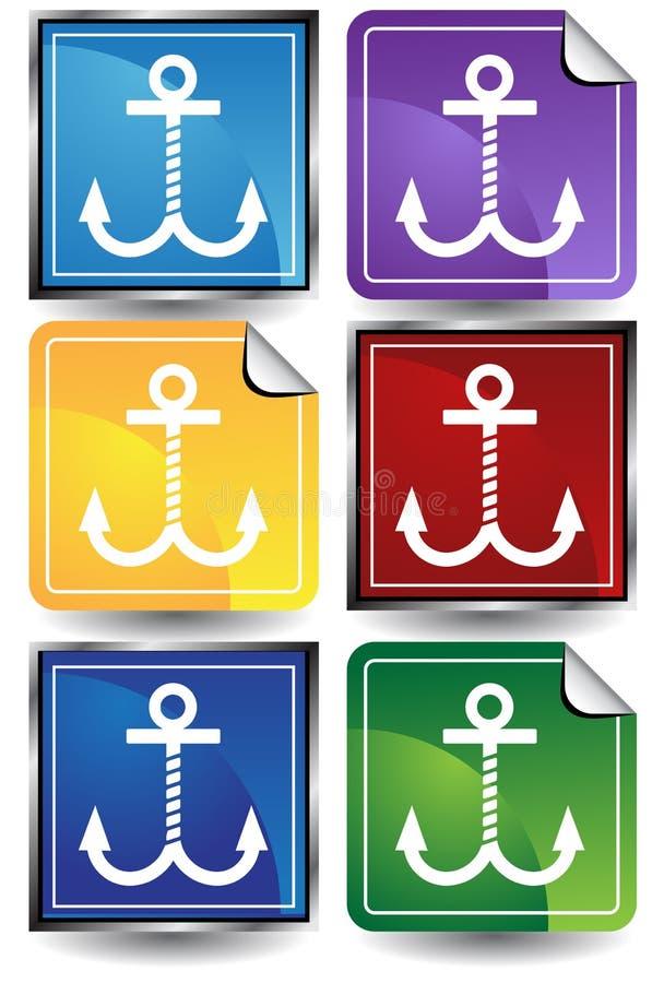 etikett för 6 ankaren stock illustrationer