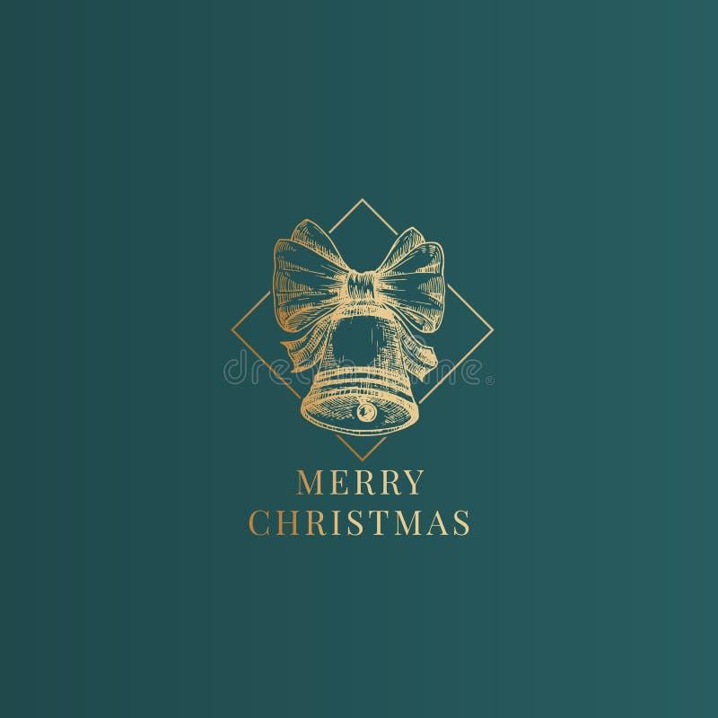 Etikett för abstrakt vektor för jul flott, tecken eller kortmall Handen utdragna guld- Klocka med musikbandbandet skissar stock illustrationer