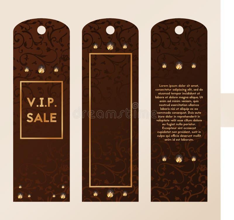 Etikett för att bekläda storgubbeetikett för kläder Mall med den till salu vektorn för smycken Guld och kristaller stock illustrationer