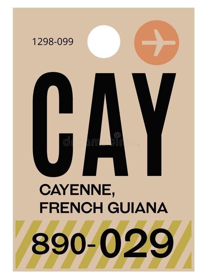 Etikett för Cayenne flygplatsbagage royaltyfri illustrationer