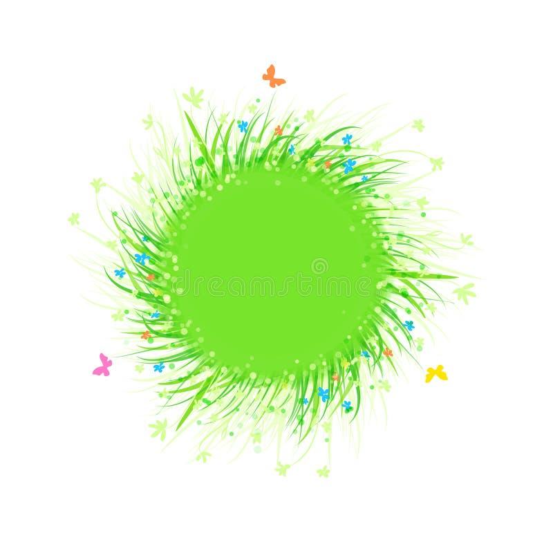 Etikett för cirkel för grönt gräs för sommar med stället för din text stock illustrationer