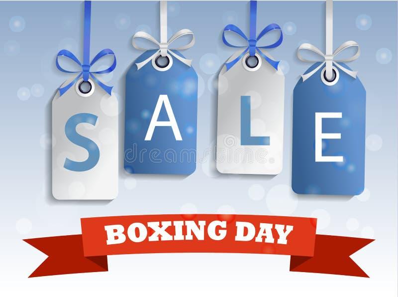 Etikett för försäljning för boxningdag royaltyfri illustrationer