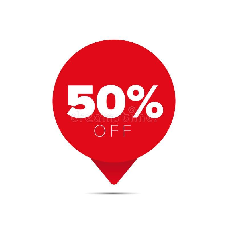 Etikett för femtio procent försäljningserbjudande royaltyfri illustrationer