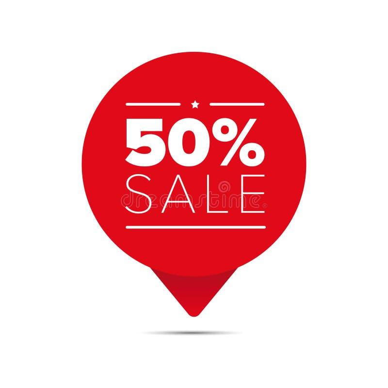 Etikett för femtio procent försäljningserbjudande vektor illustrationer