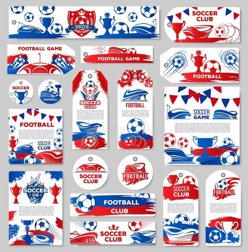 Etikett för fotbollsportklubba eller etikett för match för fotbolllek stock illustrationer