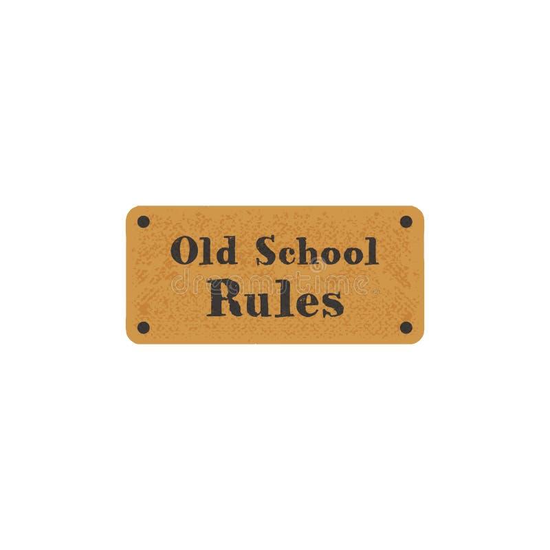 Etikett för gammal skola på retro kort Dragen stil för tappning hand Materieltypografi som isoleras på vit bakgrund royaltyfri bild