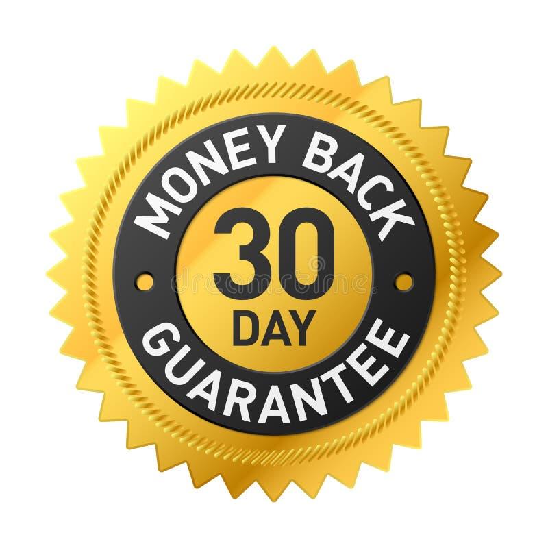 30 - etikett för garanti för dagpengarbaksida royaltyfri illustrationer