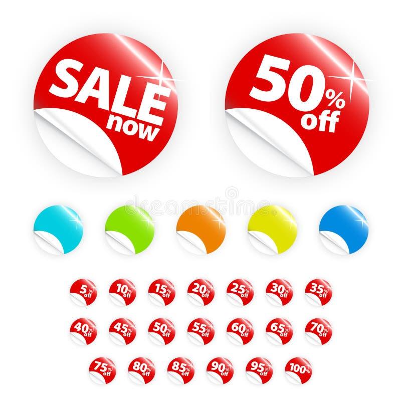 etikett för glansig återförsäljnings- sell för rabatt set stock illustrationer
