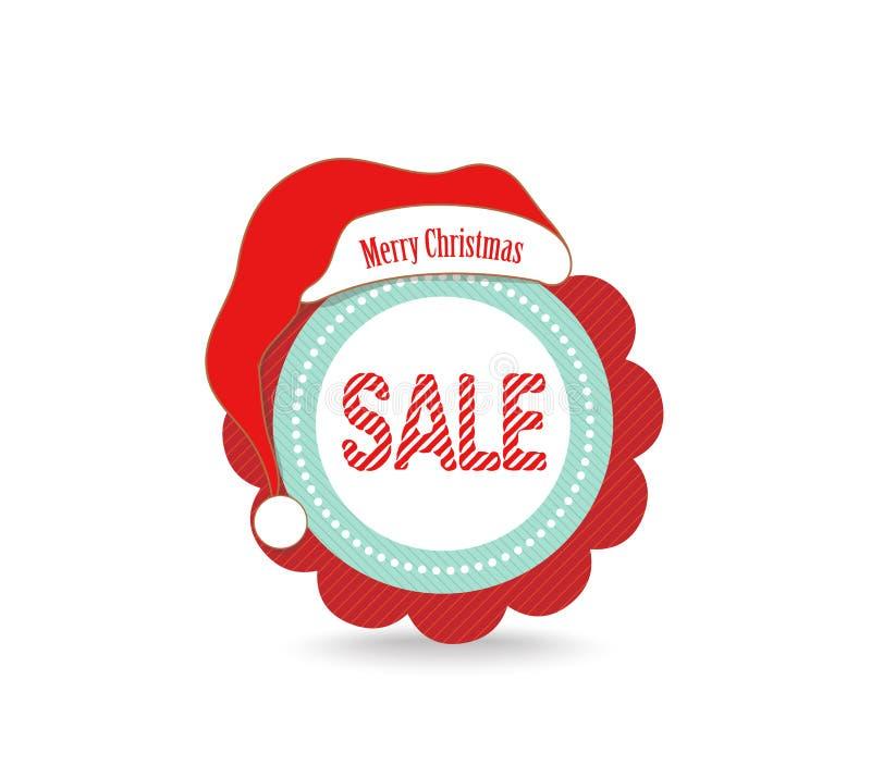 Etikett för julförsäljningsetikett stock illustrationer