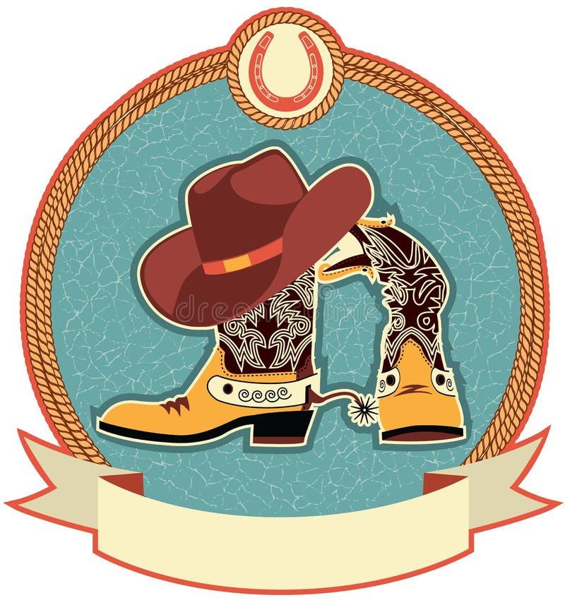 etikett för kängacowboyhatt royaltyfri illustrationer