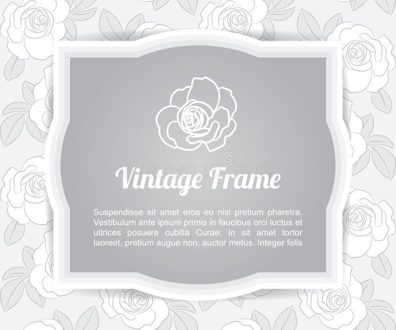 Etikett för mall för grå färgblommakort på bakgrund för modell för grå färgrosform, gräns för tappningdesignram vektor illustrationer