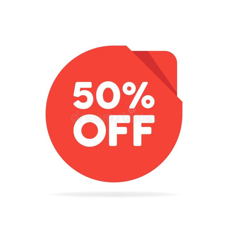Etikett för origami för cirkel för försäljning för specialt erbjudande röd rund Avfärda erbjudandeprisetiketten, symbolet för rek royaltyfri illustrationer