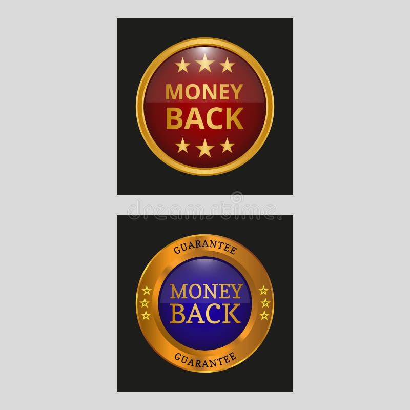 Etikett för pengarbaksidagaranti stock illustrationer