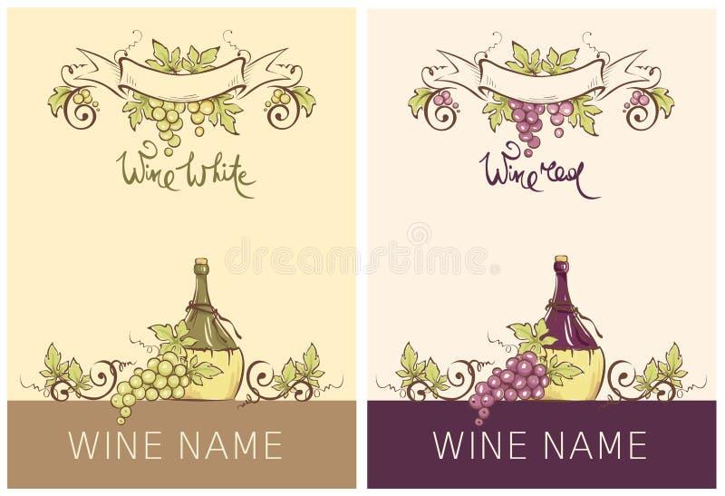 Etikett för rött och vitt vin -- uppsättning vektor illustrationer