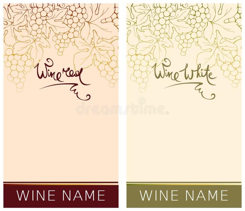 Etikett för rött och vitt vin vektor illustrationer