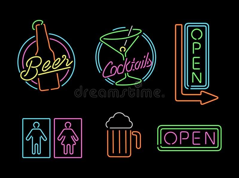 Etikett för retro öl för stång för symbol för uppsättning för tecken för neonljus öppen royaltyfri illustrationer