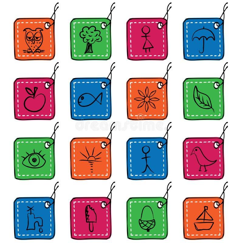 etikett för set fyrkant för 2 symboler stock illustrationer